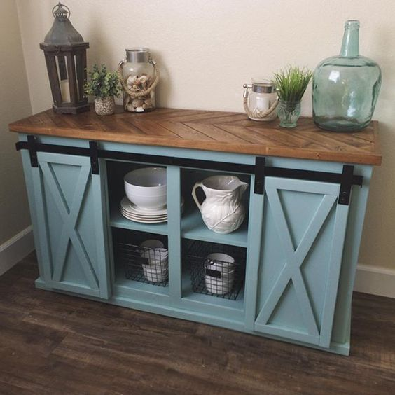 Sliding Door Farmhouse Table: It's In The Details, Chevron Top Sliding Door Console By