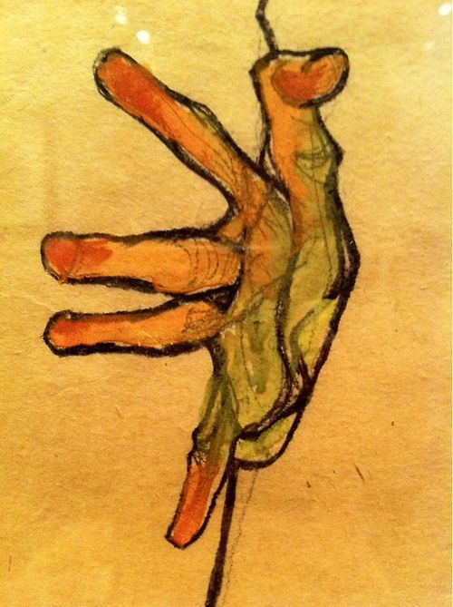 Hand Study, 1912 Egon Schiele - Who else could this possibly be?  Schiele's fascination with the exaggerated hand......In photos of him, he has hands like this.........: