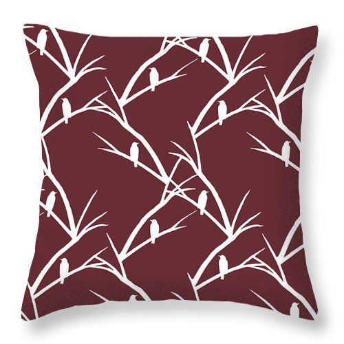 "Rustic Bird Art Dark Red Bird Silhouette Throw Pillow (14"" x 14"") by Christina Rollo.  Our throw pillows are made from 100% cotton fabric and add a stylish statement to any room.  Pillows are available in sizes from 14"" x 14"" up to 26"" x 26"".  Each pillow is printed on both sides (same image) and includes a concealed zipper and removable insert (if selected) for easy cleaning."