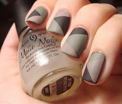 Black + Green +Tan Matte Camo Mani #Mani #Nails #NailArt #Tan #Black #Green #Matte #MateMani #Camo #CamoMani