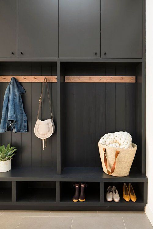 All Black Mudroom Cabinetry Modern Farmhouse Megan Bachmann Interiors Mudroom Design Home Mud Room Storage