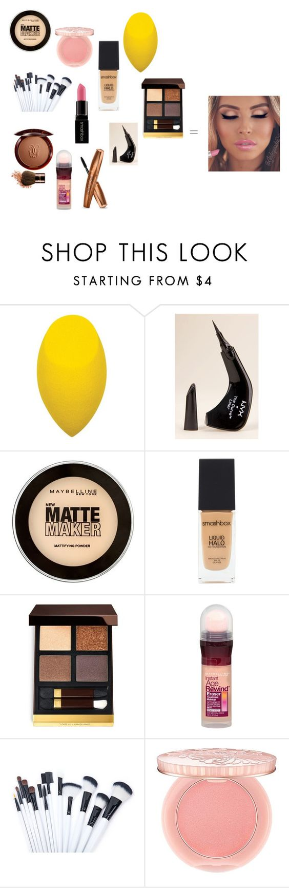 """""""Glowing girl makeup"""" by hannahrickerson ❤ liked on Polyvore featuring beauty, NYX, Maybelline, Smashbox, Tom Ford, Girlactik and Paul & Joe"""