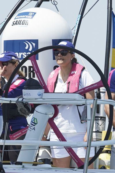 Crown Princess Victoria of Sweden on board the SCA the second day of her visit to the Volvo Ocean Race on June 5, 2015 in Lisbon, Portugal.