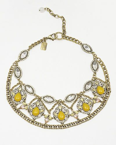 Yellow Crystal and Chain Necklace