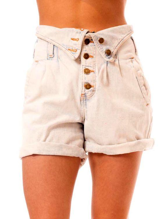 Vintage 1980s Lite washed Fold-over Jean Shorts