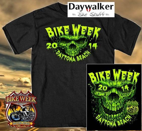 Daytona Beach Bike Week 2014 T Shirt Day Shredder XL Neon  gr. Rückenprint
