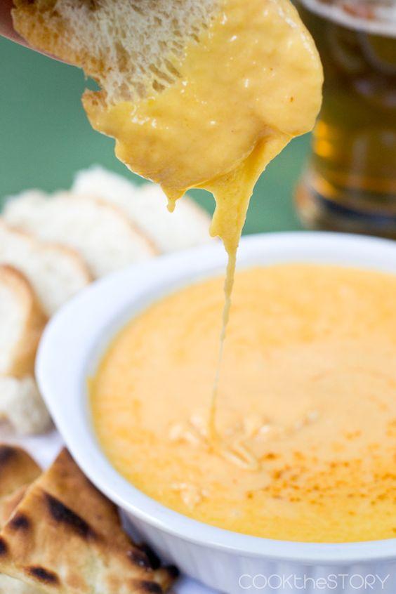 Oooey gooey! Hot Beer Cheese Dip from COOKtheSTORY.com