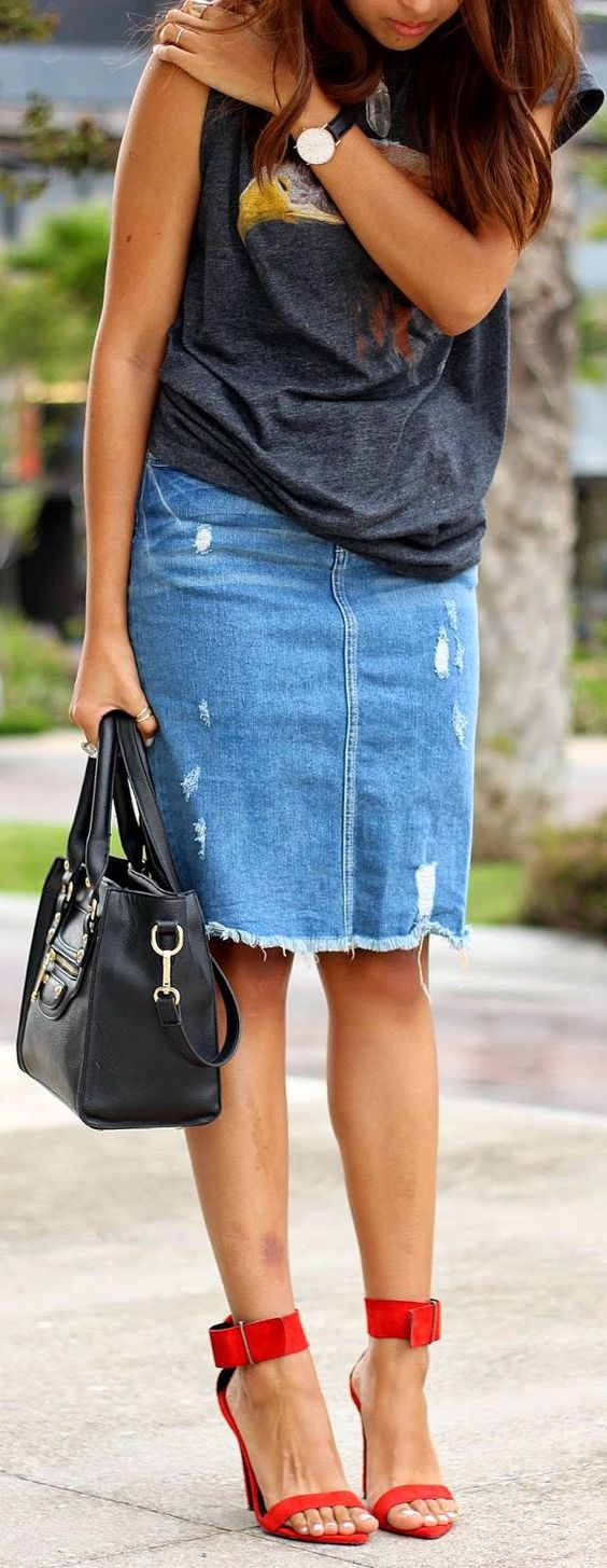 zara blue ripped denim pencil skirt by braid