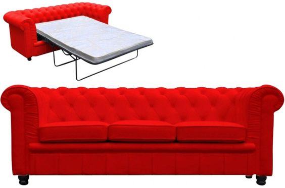 Canape Chesterfield Convertible Rouge Avec Matelas Deco Design