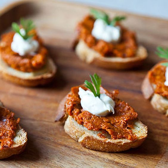 Roasted Carrot Harissa and Crème Fraîche Crostini  Recipe on Food52 recipe on Food52