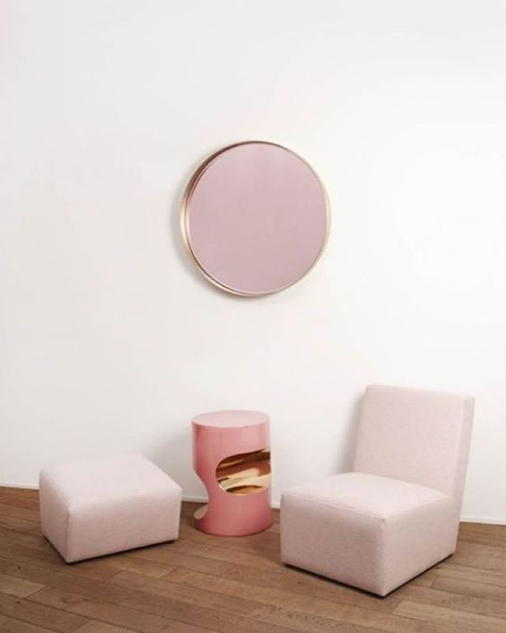 Inspo of the day via @vogueaustralia  The Fetiche side table in enamelled ceramic 28 carat gold and La Vie En Rose mirror with brushed brass and coloured mirror designed by Herve Langlais for Negropontes Galerie in Paris.  #Inspo #interiordesign #pink #furniture #clean #HerveLanglais #NegropontesGalerie