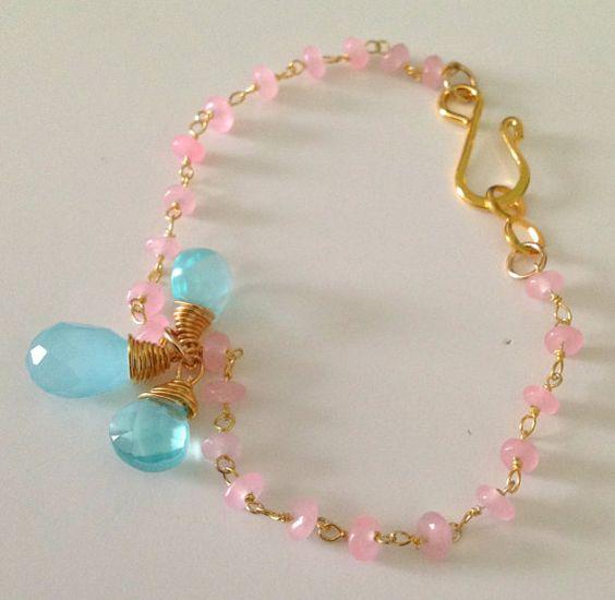 Pink jewerly,rose quartz bracelet,pink bracelet,Pulsera en rosa cuarzo, pulsera rosada, joyeria by SebastiandelaGoya, $79.00