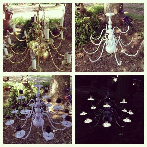 My diy solar light outdoor chandelier chandelier for Solar light chandelier diy
