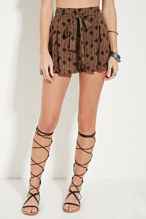 Belted geo print shorts; Forever 21; $6.89