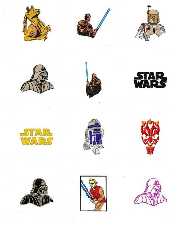 Star wars set machine embroidery designs by