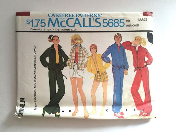 Vintage Sewing Pattern Men's, Women's 70's Uncut McCalls 5685, Jacket, Pants, Shorts by Freshandswanky on Etsy
