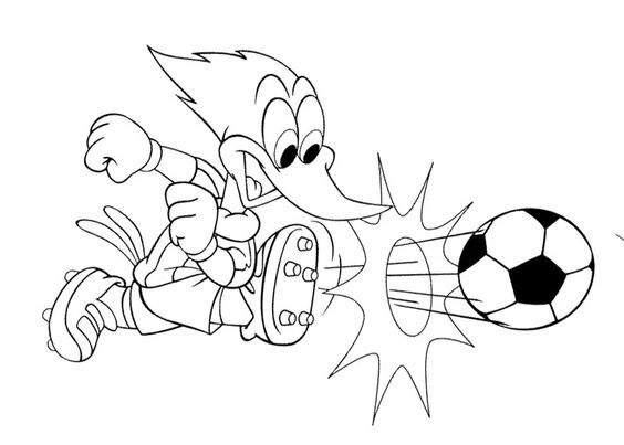 Woody Woodpecker Playing Soccer Coloring Page