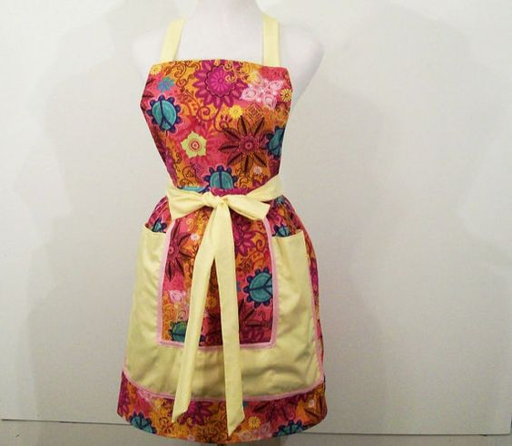 Women's Reto Full Apron Hot Pink Print with by Barb70CraftShop (Accessories, Apron, Full, barb70craftshop, women, home and living, womans apron, gift ideas, womens apron, gift for mom, mothers day apron, kitchen apron, womans full apron, special occasion, floral full arpon, hot pinkyellow apron)