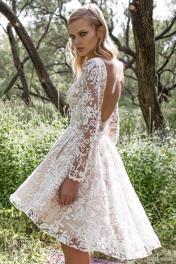 limor rosen 2017 bridal long sleeves bateau neckline full embellishment pretty lace romantic above the knee short wedding dress with pockets scoop back (kylie) bv: