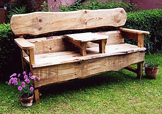 I like the rustic look of this 2 seater bench with table.