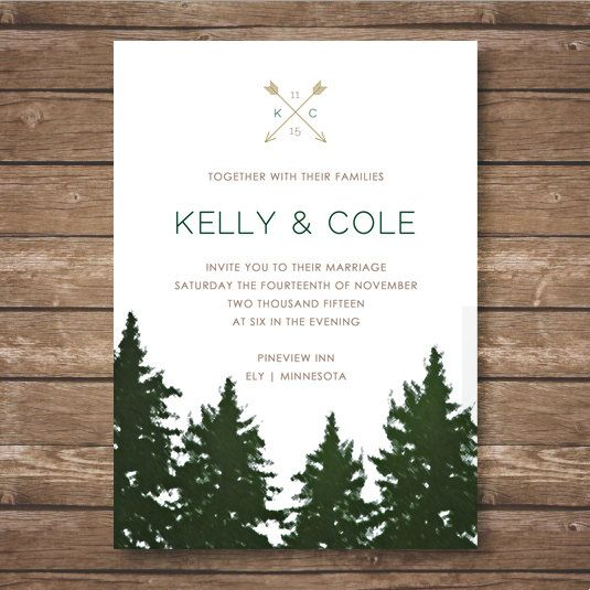 Forest Themed Wedding Invitations: Printable Forest Wedding Invitation Suite
