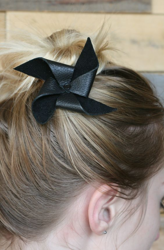 Glitter in My Tea: DIY: Leather Mini Pinwheel Hair Bow More: