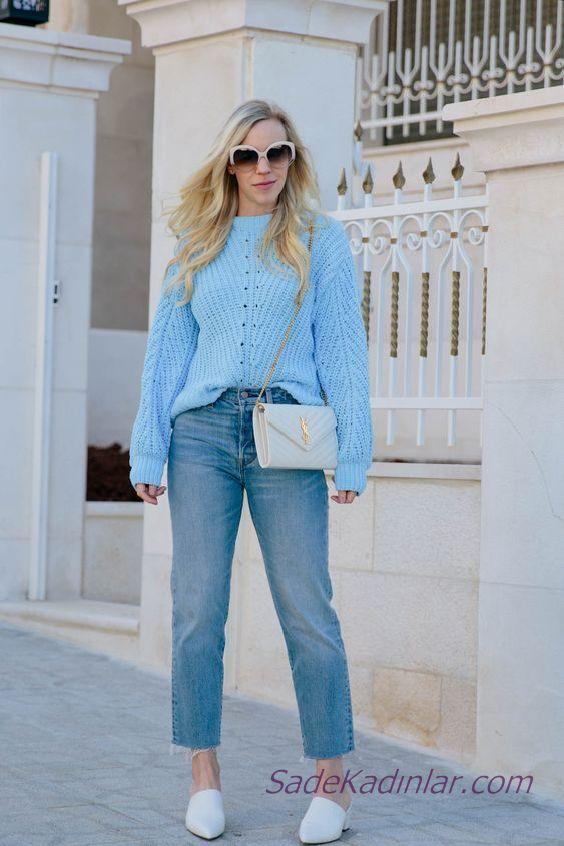 Bayanlar Icin 2021 Mavi Kazak Kombinleri Mavi Bol Kesim Kot Pantolon Mavi Yuvarlak Yaka Desenli Kazak Mavi Kazak Moda Stilleri Mavi Kiyafetler