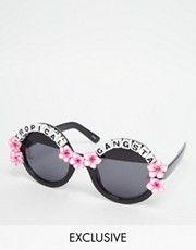 Rad + Refined - Tropical Gangsta - Occhiali da sole rotondi con ibischi