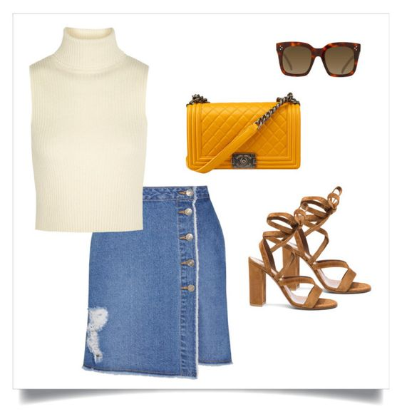 """Denim Skirt"" by citygirlspace ❤ liked on Polyvore"