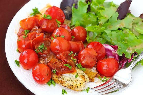 Tilapia with tomato-herb pan sauce.