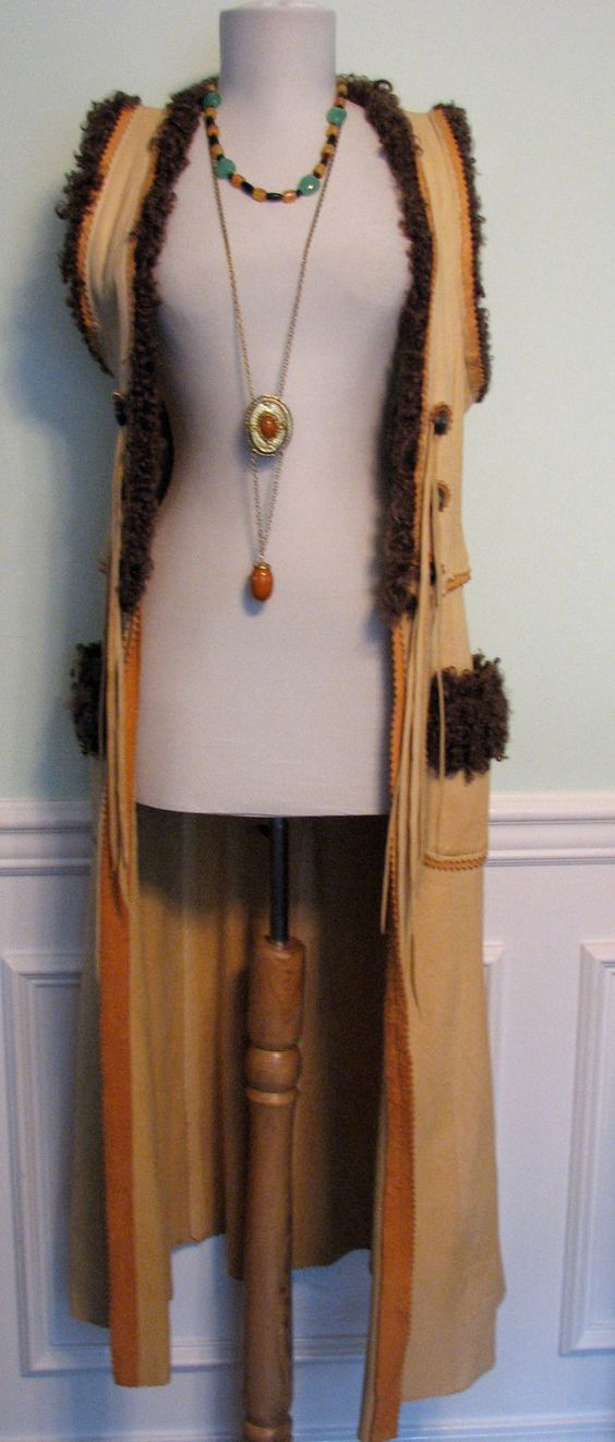 1970s Duster Vest Boho Curly Lamb Hippie by GracefulVtgClothing