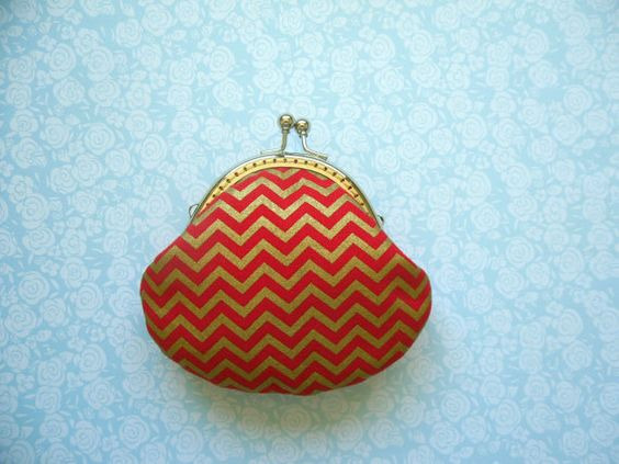 Gold Metallic Chevron in Red Coin purse Mothers by Cutefairybear