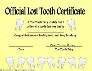 Free Printable Tooth Fairy Lost Tooth Certificate Lost