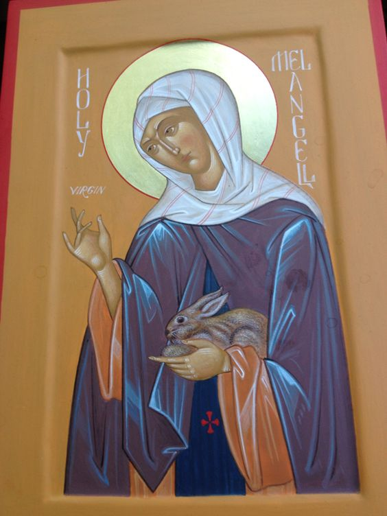 ?   St.Melangell__was a Welsh virgin, (Latin: Monacella),May 27, 590.[1] The daughter of an Irish Melangell remains the patron saint of hares. ( FROM Wiki ):