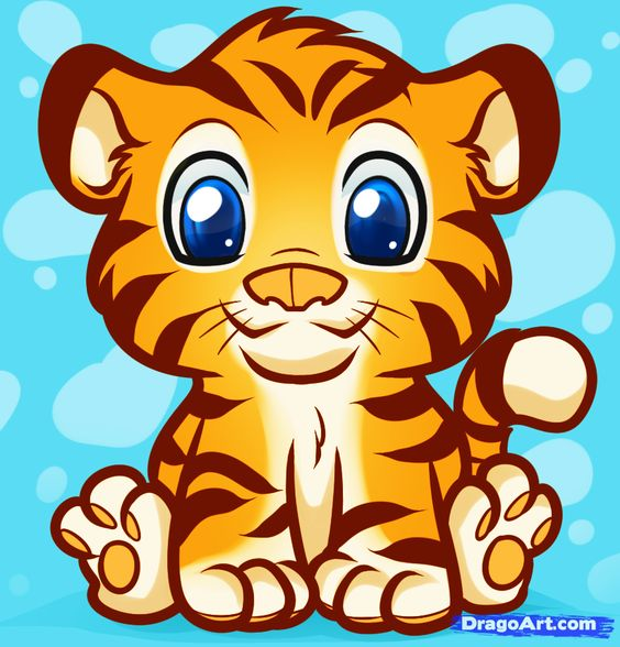 cartoon baby animals | How to Draw an Anime Tiger, Step by ...