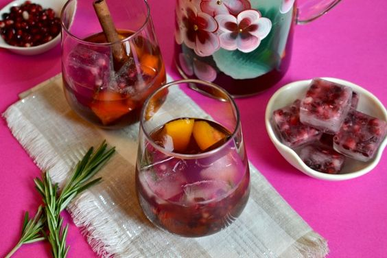 Chilled Mulled Pomegranate Wine with Pomegranate Ice Recipe. This refreshing drink works perfect with any barbecue.