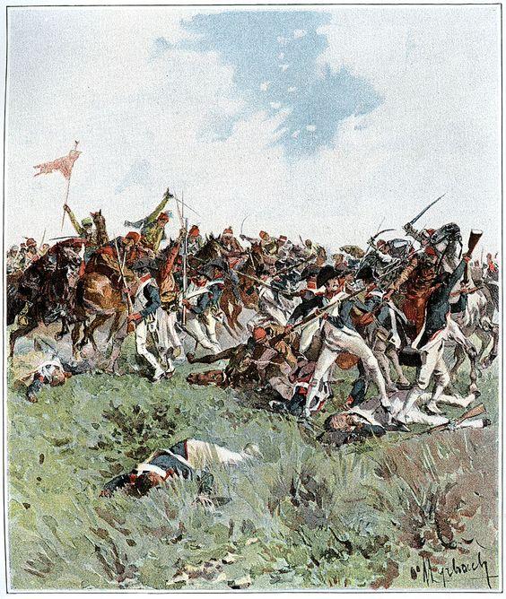 NAP: Mêlée entre les soldats français et la cavalerie ottomane au cours de la bataille. Illustration de Felicien Myrbach.
