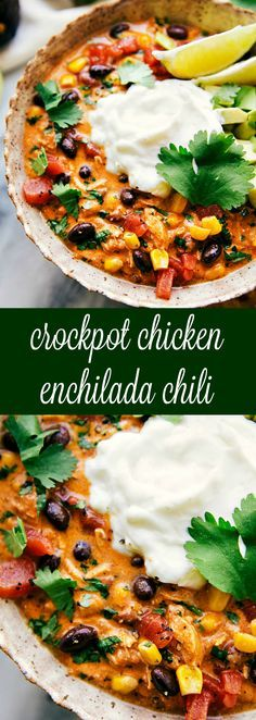 "A simple and tasty creamy slow-cooked chicken enchilada chili. No cream of ""x"" soups needed!I've been majorly holding out on you guys with this soup!! I made wa"