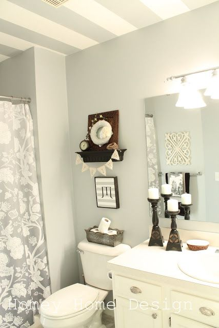 Painted ceiling stripes ~ I LOVE this idea! ᘡƝᘠ, And I HAVE this shower curtain--- but in blue-- its from TARGET!!!! -KT