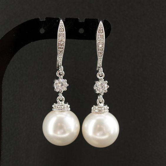 Bridal Pearl Drop Earrings Wedding Jewelry Cubic by poetryjewelry