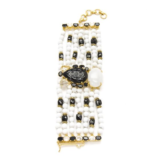 White Shell Beads,Black Onyx and Agate Bracelet