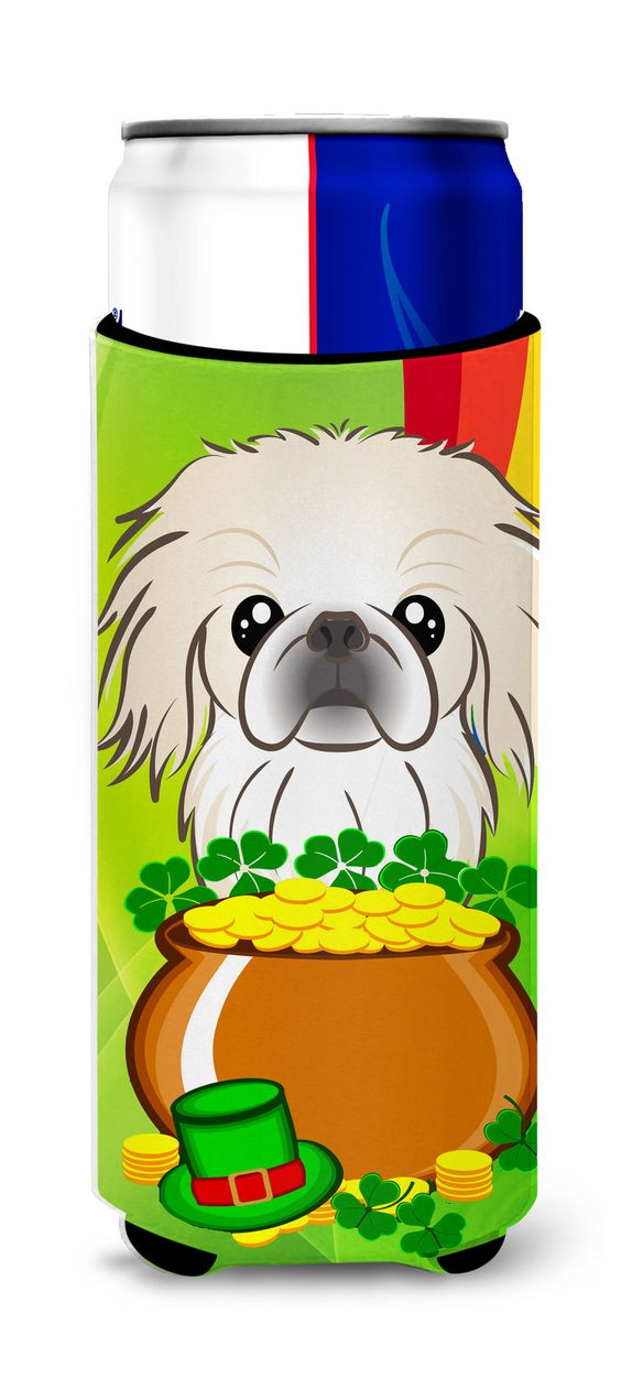 Pekingese St. Patrick's Day Michelob Ultra Beverage Insulator for slim cans BB1965MUK