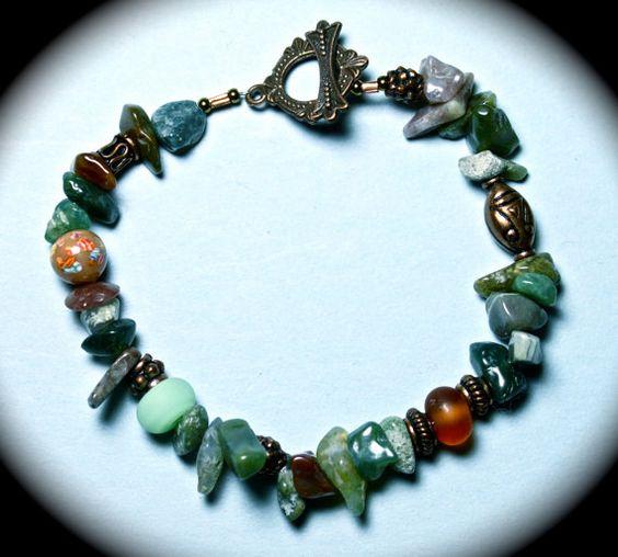 Bracelet w/ brilliant jade nuggets, vintage beads, antiqued copper and brass toggle.