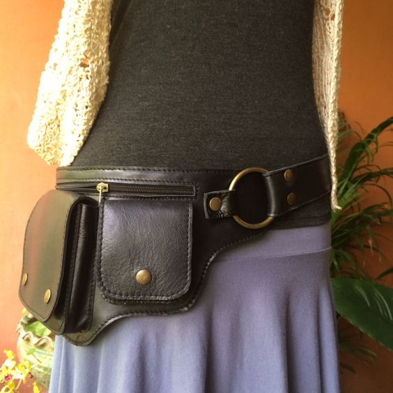 Leather Pocket Utility Belt  ~ The Hipster -3 Colors - Iphone wallet, Passport holder,Travel bag,Steampunk Hip Purse