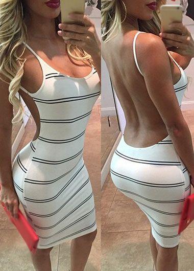 Sexy dress,backless dress,open back dress,stripe dress,clubwear
