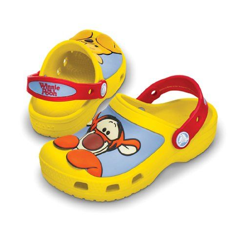 Crocs Winnie the Pooh & Tigger Clog (Toddler/Little Kid),Yellow/Red,12-13 M US Little Kid Bring along these adventurers from the Hundred Acre Wood. Winnie the Pooh™ and Tigger™ design on vamp. Heel strap with holes allows Jibbitz™ personalization. Fully molded Croslite™ material construction for lightweight cushioning. Lightweight, non-marking croslite™ sole.  #crocs #Shoes