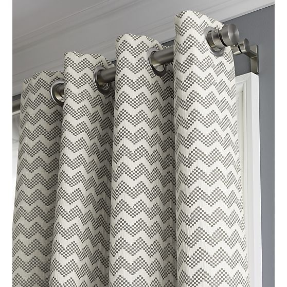 Exceptional Curtains Ideas Crate U0026 Barrel Curtains : Reilly Grey Chevron Curtains |  Hanging Curtain Rods,