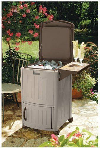 Patio Rolling Cooler Cart: Party Beverage Cooler Ice Chest On Wheels With Storage