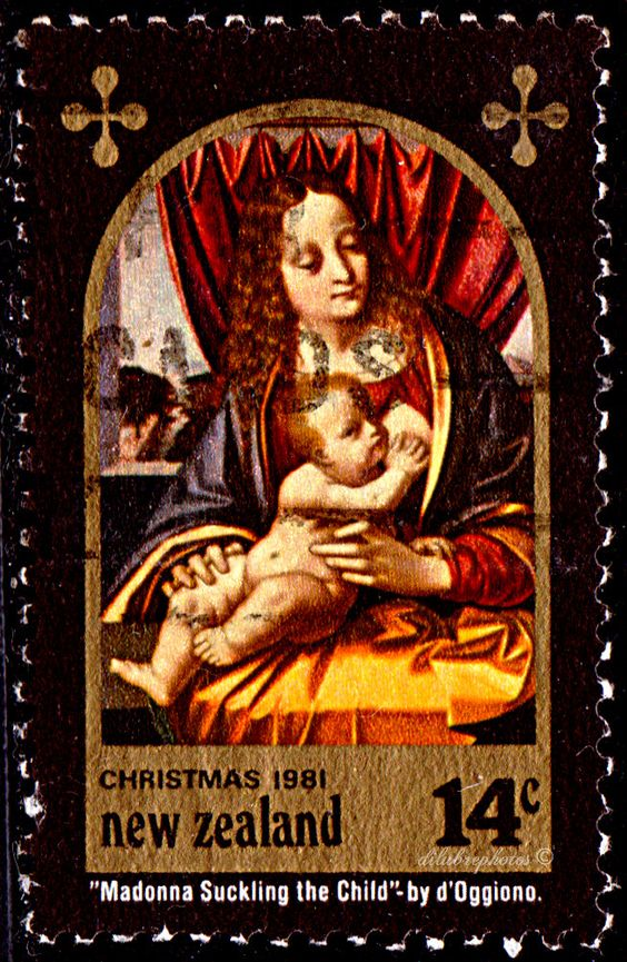 New Zealand.  MADONNA & CHILD by Marco d' Oggiono.  Scott 736 A271, Issued 1981 Oct, Photo., Perf. 11 1/2, Granite Paper, 14. /ldb.