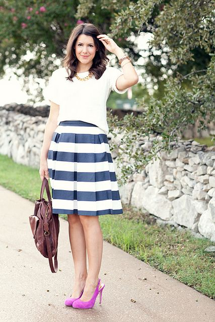 Kendi Everyday in Corilyn skirt; love the pop of color in the shoes!